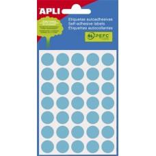 Etikett, 13 mm kör, kézzel írható, színes, APLI, kék, 175 etikett/csomag