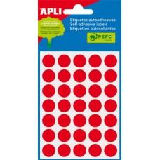 Etikett, 13 mm kör, kézzel írható, színes, APLI, piros, 175 etikett/csomag