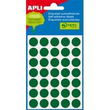Etikett, 13 mm kör, kézzel írható, színes, APLI, zöld 175 etikett/csomag