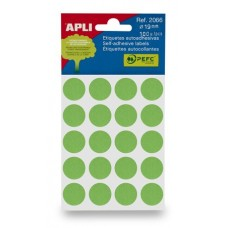 Etikett, 19 mm kör, kézzel írható, színes, APLI, zöld 100 etikett/csomag