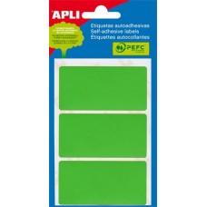 Etikett, 34x67 mm, kézzel írható, zöld, APLI, 15 etikett/csomag
