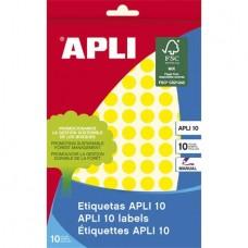 Etikett, 10 mm kör, kézzel írható, színes, APLI, sárga, 1008 etikett/csomag