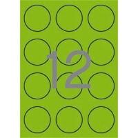 Etikett, 60 mm kör, színes, APLI, neon zöld, 240 etikett/csomag
