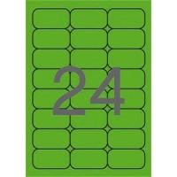 Etikett, 64x33,9 mm, színes, kerekített sarkú, APLI, neon zöld, 480 etikett/csomag