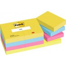 Öntapadó jegyzettömb, 38x51 mm, 12x100 lap, 3M POSTIT, energikus színek