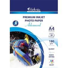 Fotópapír, tintasugaras, A4, 180 g, fényes, VICTORIA