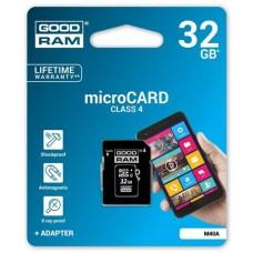Memóriakártya, Micro SDHC, 32GB, Class 4, adapterrel, GOODRAM