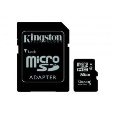 Memóriakártya, microSDHC, 16GB, CL4, 4 MB/s, KINGSTON