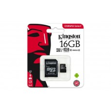 Memóriakártya, Micro SDHC, 16GB, Class 10, UHS-I, 80/10MB/s, adapterrel KINGSTON