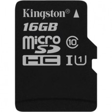 Memóriakártya, microSDHC, 16GB, CL10/U1, 80/10MB/s, KINGSTON