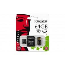 Memóriakártya, Micro SDXC, 64GB, Class 10, SD+USB adapterrel, KINGSTON