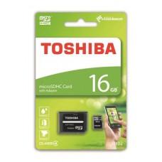 Memóriakártya, Micro SDHC, 16GB, Class 4, adapterrel, TOSHIBA