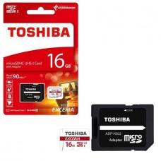 Memóriakártya, Micro SDHC, 16GB, Class 10 U3, adapterrel, TOSHIBA