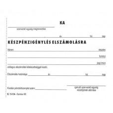 Nyomtatvány, Készpénzigénylés elszámolásra, 50x2, A6, VICTORIA,