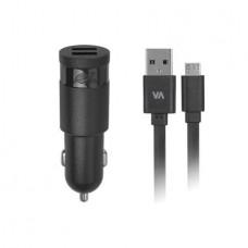Autós töltő, 2 x USB, 2,4A, micro USB kábellel, RIVACASE