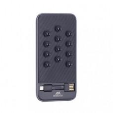 Hordozható akkumulátor, microUSB, USB-C adapter, telefonra tapasztható, 8000 mAh, RIVACASE