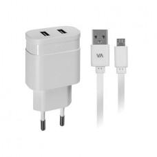 Hálózati töltő, 2 x USB, 2,4A, micro USB kábellel, RIVACASE