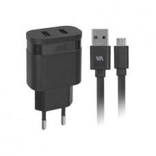Hálózati töltő, 2 x USB, 3,4A, micro USB kábellel, RIVACASE