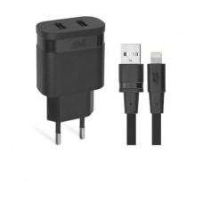 Hálózati töltő, 2 x USB, 3,4A, lightning kábellel, RIVACASE