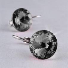 Fülbevaló, francia kapcsos, Black Diamond, SWAROVSKI® kristállyal, 12 mm, ART CRYSTELLA®