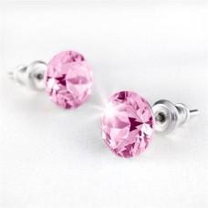 Fülbevaló, SWAROVSKI® kristállyal, világos rózsaszín, 8mm, ART CRYSTELLA