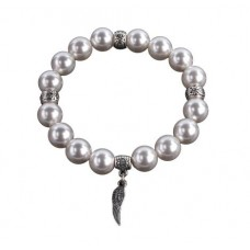 Karkötő, gyöngyházfehér SWAROVSKI® gyöngyből, angyalszárny charm, 10mm ART CRYSTELLA®