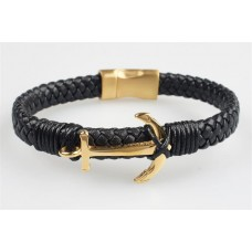 Karkötő, fekete fonott bőr, mágneszárral, arany színű horgonnyal, 22,5cm, ART CRYSTELLA®