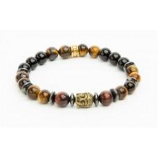 Karkötő, gyöngyből, tigrisszem, piros tigrisszem, hematite, arany színű Buddha dísszel, 8mm, ART CRYSTELLA