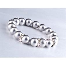 Karkötő, ezüst színű SWAROVSKI® gyöngyből, fehér kristállyal, 10mm, ART CRYSTELLA®