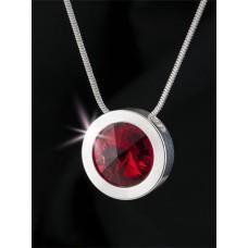 Nyaklánc, ezüstözött kerek medállal, light siam piros SWAROVSKI® kristállyal, 15mm, ART CRYSTELLA®