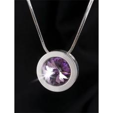 Nyaklánc, ezüstözött kerek medállal, ametiszt lila SWAROVSKI® kristállyal, 15mm, ART CRYSTELLA®