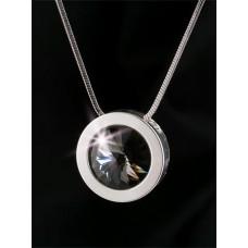 Nyaklánc, ezüstözött kerek medállal, Black Diamond SWAROVSKI® kristállyal, 15mm, ART CRYSTELLA®