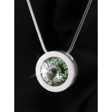 Nyaklánc, ezüstözött kerek medállal, almazöld SWAROVSKI® kristállyal, 15mm, ART CRYSTELLA®