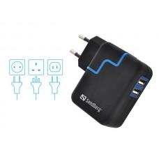 Hálózati adapter, 2xUSB, 2,4A, SANDBERG