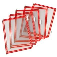 Bemutatótábla, A4, acélkeretes, TARIFOLD, piros