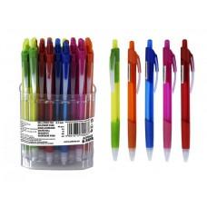 Golyóstoll, 0,5 mm, nyomógombos, átlátszó tolltest, kék