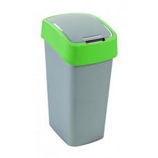 Billenős szelektív hulladékgyűjtő, műanyag, 50 l, CURVER, zöld/szürke