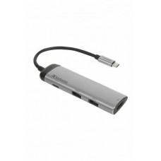 USB elosztó-HUB, 4 port, 2 db USB 3.0, USB-C, HDMI, VERBATIM