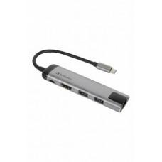 USB elosztó-HUB és ethernet átalakító, 4 port, USB 3.0, USB-C, HDMI, VERBATIM