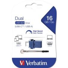 Pendrive, 16GB, USB 3.0+USB-C adapter, VERBATIM,