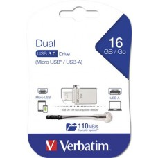 Pendrive, 16GB, USB 3.0+micro USB adapter, táblagéphez, VERBATIM