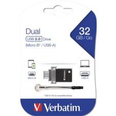 Pendrive, 32GB, USB 2.0+micro USB adapter, táblagéphez, VERBATIM