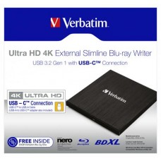 Blu-ray író, (külső meghajtó), 4K Ultra HD, USB 3.1 GEN 1 USB-C, VERBATIM