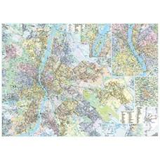 Falitérkép, 100x140 cm, fémléces, Budapest térképe STIEFEL