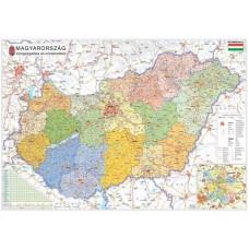 Falitérkép, 70x100 cm, fémléces, Magyarország járástérképe, STIEFEL